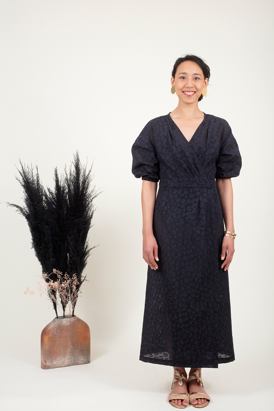 Ose Patterns - PEMA dress with sleeves - front view