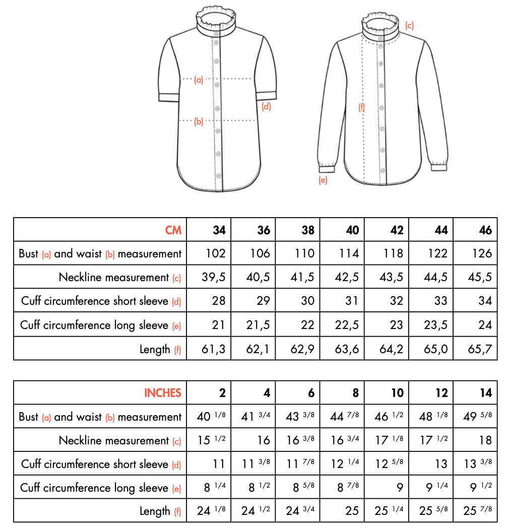Finished measurements KIM shirt by Ose Patterns