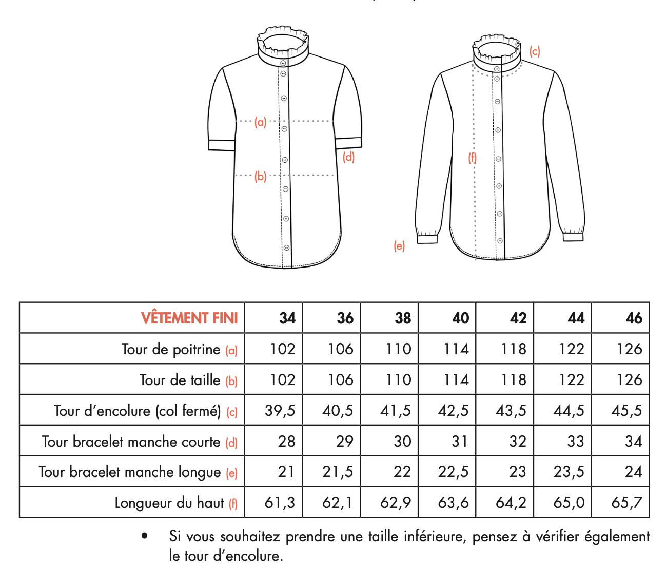 Ose Patterns - Haut KIM - Dimensions vêtement fini