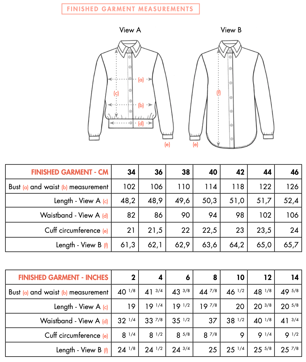 POLLY J shirt - Finished Measurement