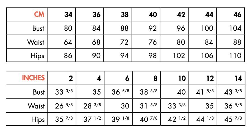 Size chart - Ose Patterns
