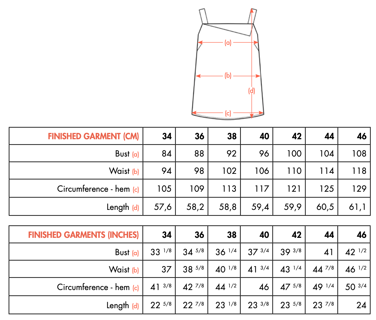 BRENE finished measurements - Camisole Ose Patterns
