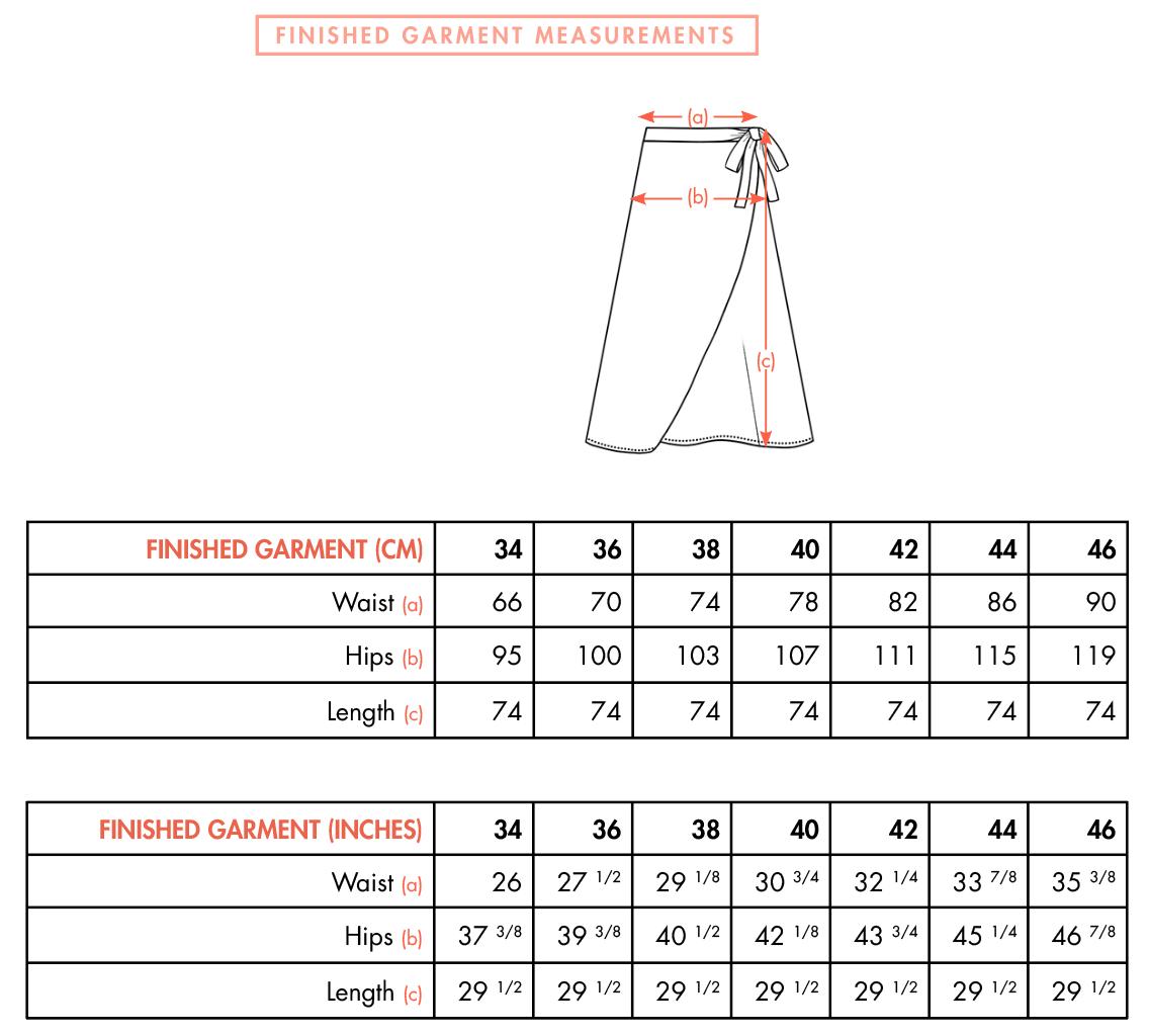 KIA Skirt - Finished measurements - Ose Patterns